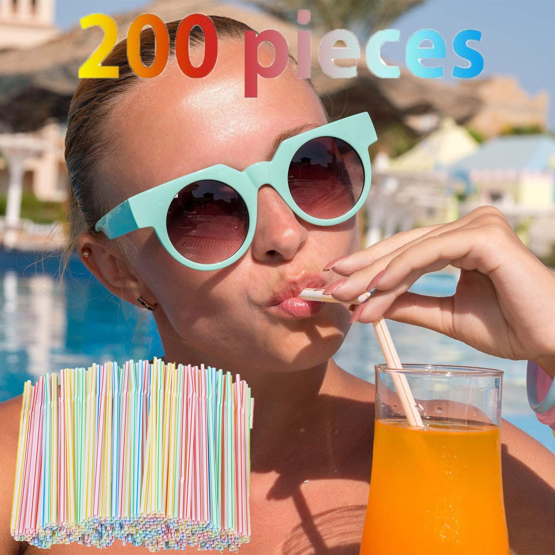 200 peças de Plástico Canudos 8 Polegadas Longo Multi-colorido Listrado Bedable Productos Domésticos Товары Для Дома