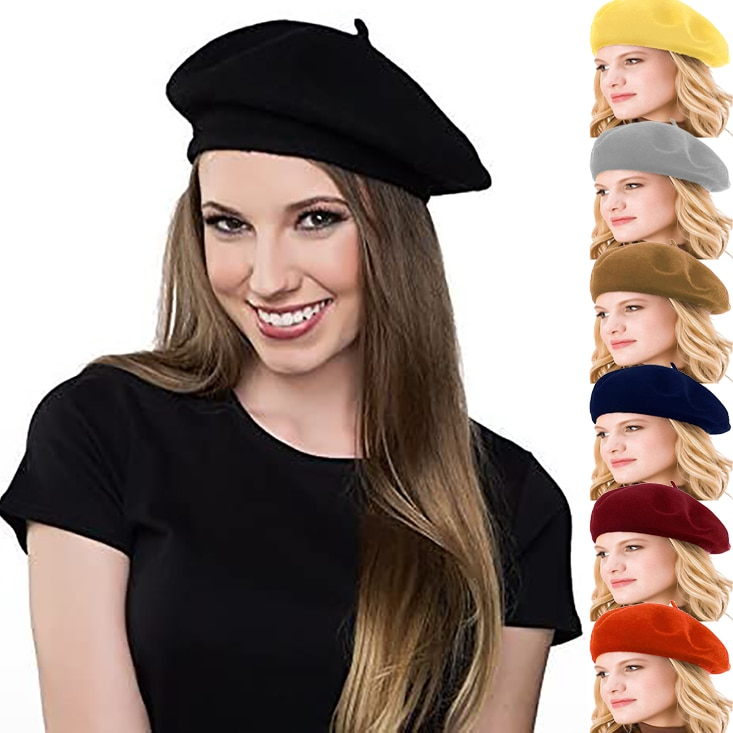 Vintage French Beret Cap for Women Autumn Winter Outdoor Berets Street Style Plain Cap Wool Warm Fem