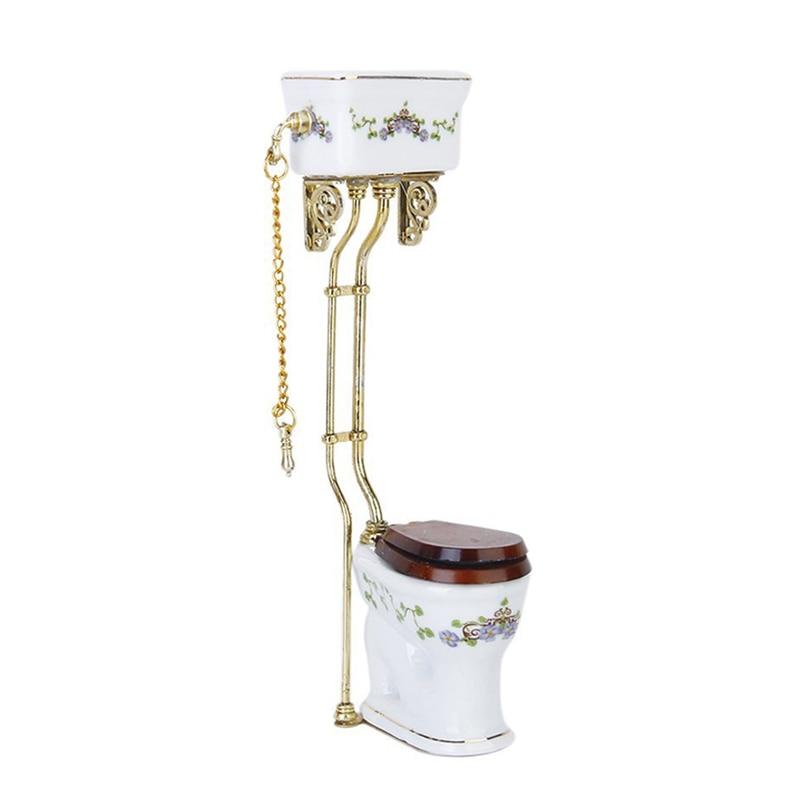 Vintage Victoriaanse Stijl Badkamer Porselein Wc Poppenhuis Miniatuur Wit + Goud
