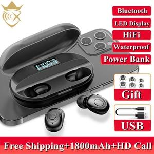 TWS Bluetooth 5.2 Earphones 1800mAh Charging Box Wireless Headphone 9D Stereo Sports Waterproof Earbuds Headsets For Smartphones
