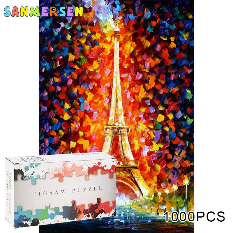 Rompecabezas de papel 3D de 1000 piezas para juguetes para niños y adultos, rompecabezas educativo, pegatinas de juguete, rompecabezas de Torre Eiffel, decoración de caja de regalo