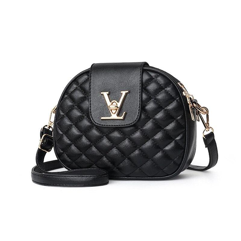 Bolso cruzado pequeño con círculo para mujer 2020, bolsas de mensajero de hombro de cuero, Mini bolso para mujer, bolso de piel sintética con entramado de diamantes