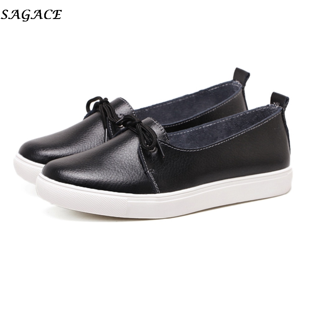 SAGACE Women flats 2019 new autumn single shoes women leather shoes casual Lace up loafers shoes wom