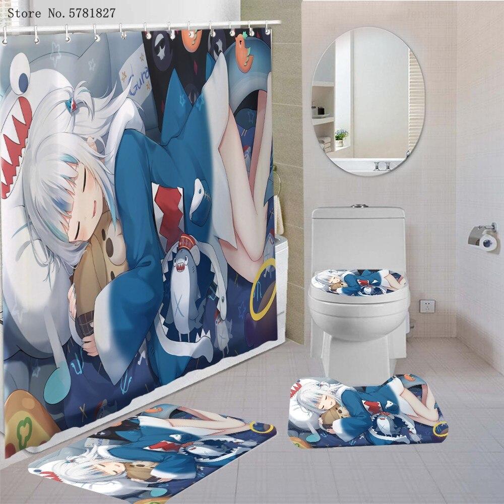 3/4 قطع أنيمي الكرتون الحمام مجموعة الستائر غطاء السجاد غطاء المرحاض حمام حصيرة وسادة مجموعة جميلة مثير سيدة دش مجموعة الستائر