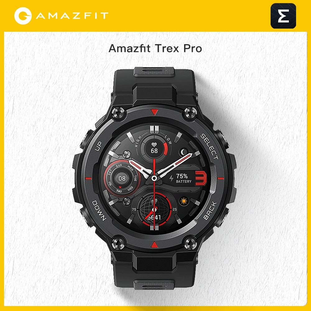 Get New Amazfit Trex Pro T-rex T Rex GPS Outdoor Smartwatch Waterproof 18-day Battery Life 390mAh Smart Watch For iOS Android Phone