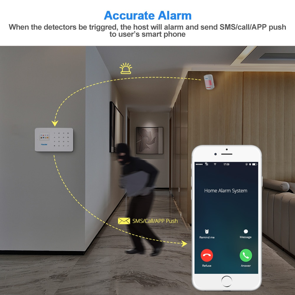 TOWODE G18 GSM Alarm System SIM IOS Android APP Control 1.7 Inch TFT Color Screen Touch Keyboard 433MHZ Home Security Alarm Kit enlarge