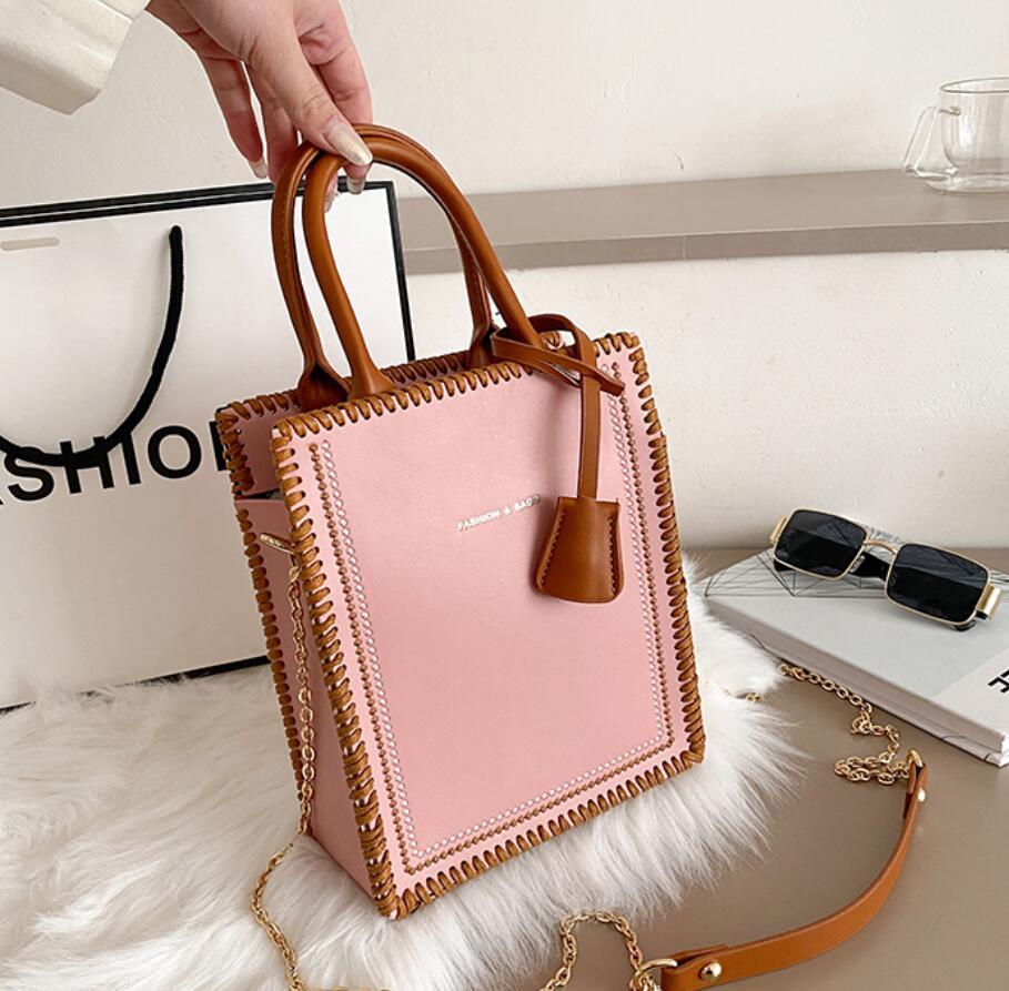 Contrast color Tote bag 2021 New High-quality PU Leather Women's Designer Handbag Chain Shoulder Messenger Bag Phone Purses