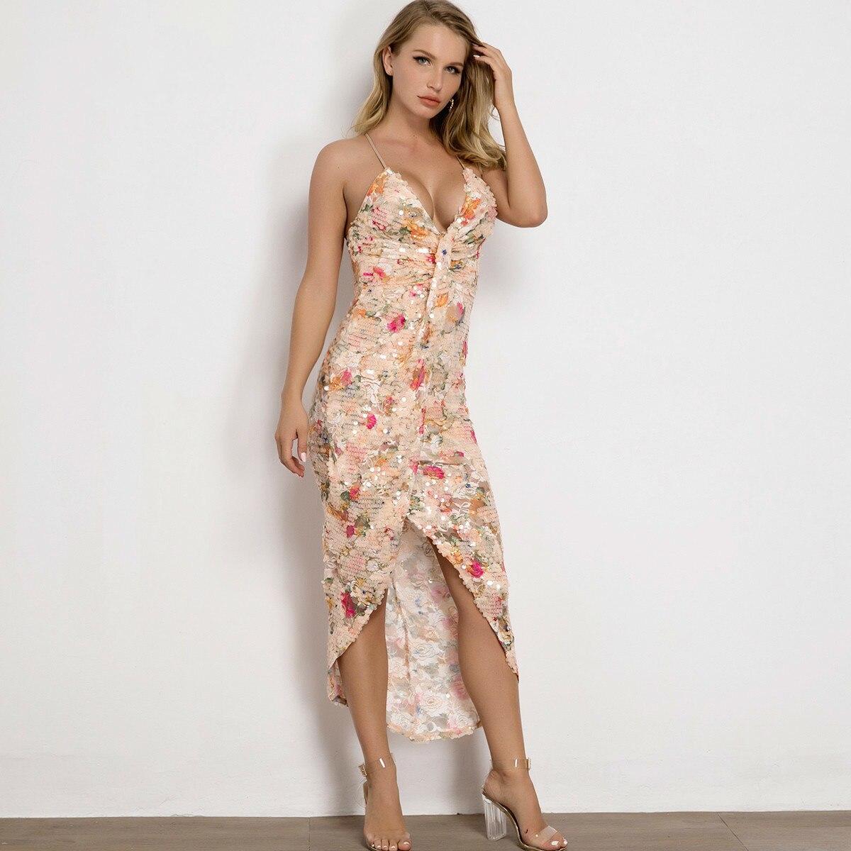 Causey Sexy V-neck Sequined Dress Women Spaghetti Strap Split Plus Size Dresses Elegant Bodycon Party Vestidos De Fiesta