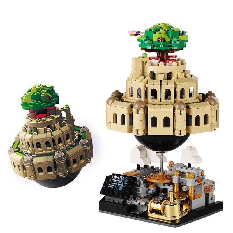 Creative Laputa DIY Moc Castle Model In The Sky  Building Blocks Toys with Music Box Ideas Christmas