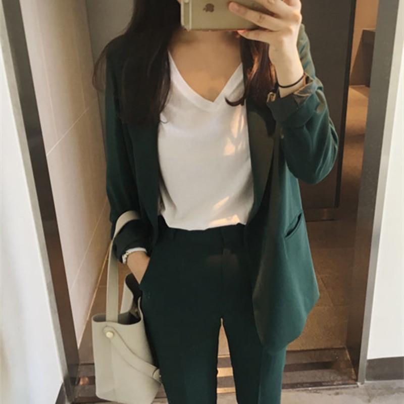 Alien Kitty 2021 New Elegant Office Work Wear Pant Suits OL 2 Piece Sets Solid Blazer Jacket & Trousers Suit For Women Set Femme