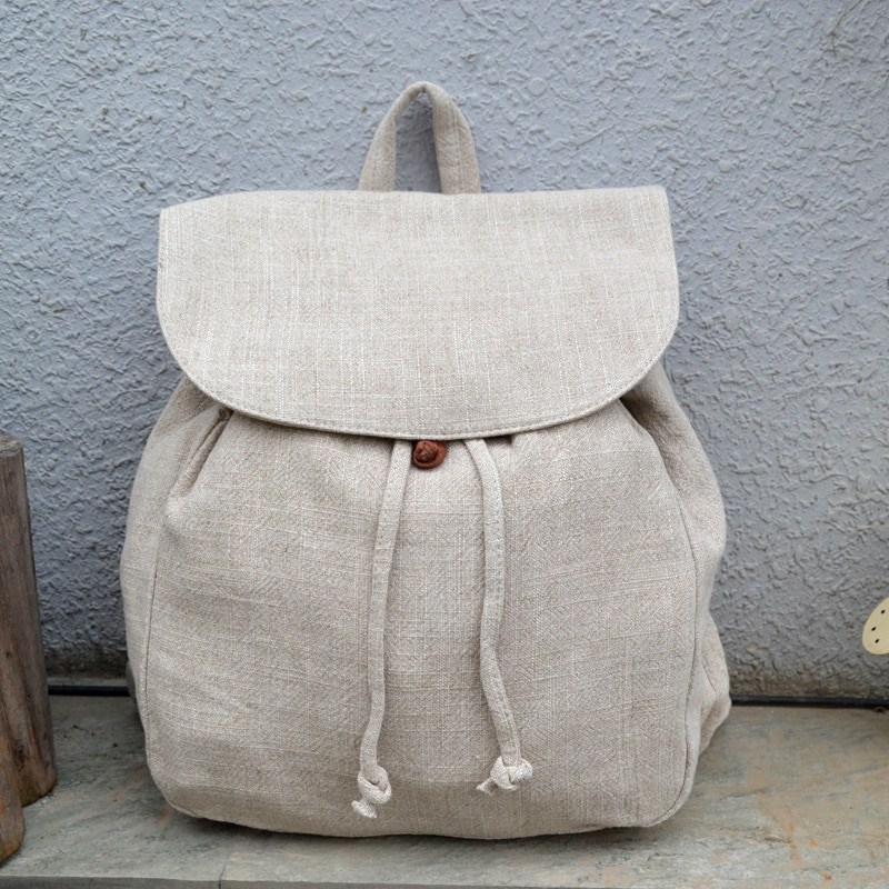 حقيبة ظهر من الكتان الطبيعي للنساء 2021 حقيبة نسائية يومية نسيج عالي الجودة صديقة للبيئة تصميم بسيط حقيبة ظهر للطلاب