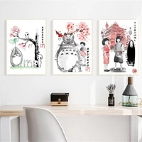 anime hayao miyazaki movie canvas painting totoro spirited away art posters and print home decor vintage pictures for kid room