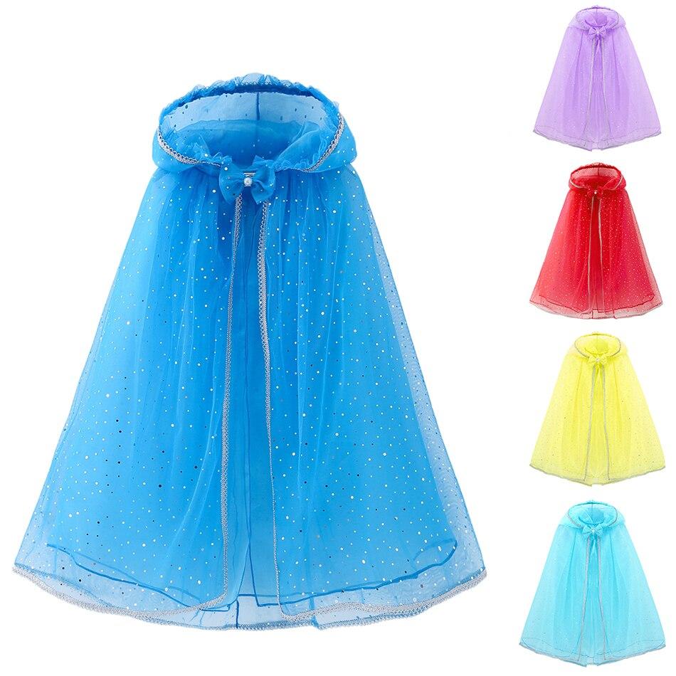 YOFEEL Elsa bleu Tippet filles fête cape enfants paillettes princesse Costume argent jante Capes Rose Rose blanc neige reine Elza robe