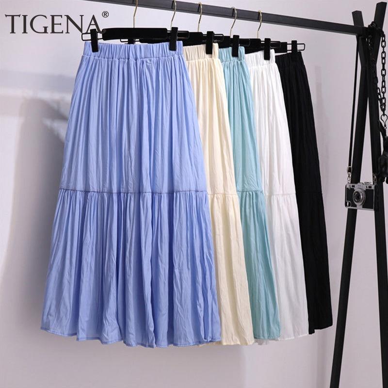 TIGENA falda de algodón larga Mujer moda verano 2020 coreano Casual doblar forrado una línea de alta cintura Falda plisada Mujer azul verde
