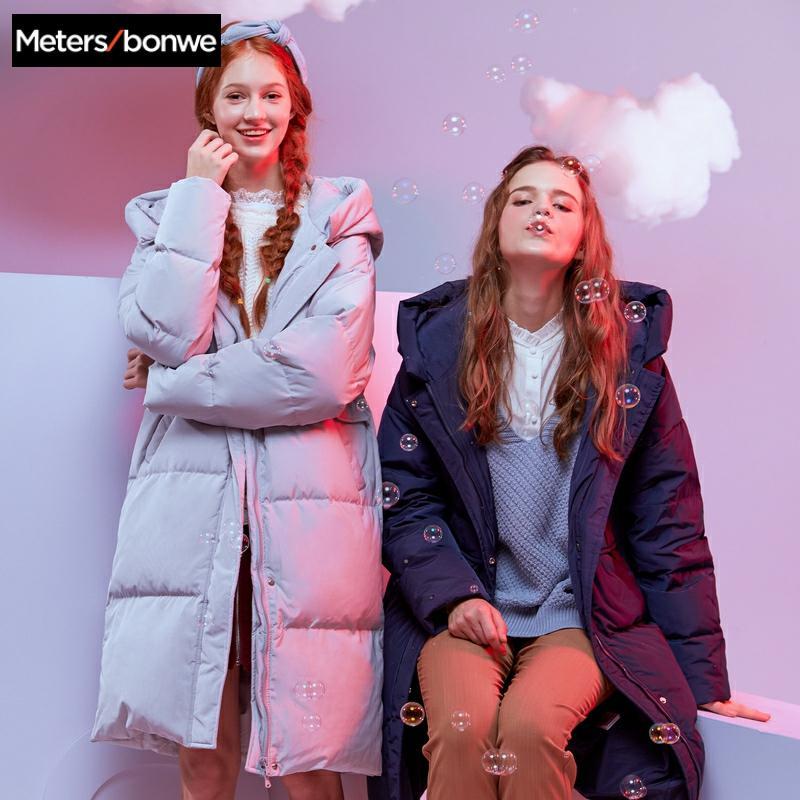 Metersbonwe Neue Lange Warme Unten Mäntel Über die knie Frauen Winter Warme 80% Grau Ente Unten Mit Kapuze Weiblichen Mantel Winter trend Outwear