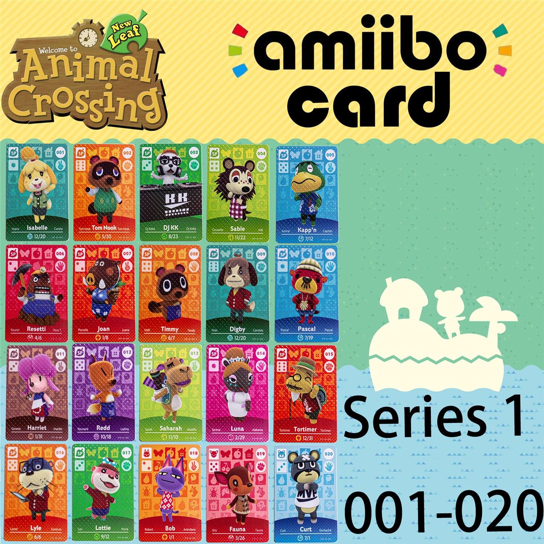 Animal Crossing New Horizons juego Amiibo tarjeta para NS Switch 3DS juego de cartas Lobo NFC cartas populares Villager serie 1 001-020