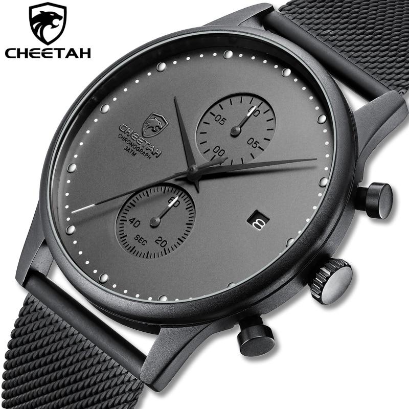 New CHEETAH Brand Men Watches Chronograph Quartz Watch Men Stainless Steel Waterproof Sports Clock W