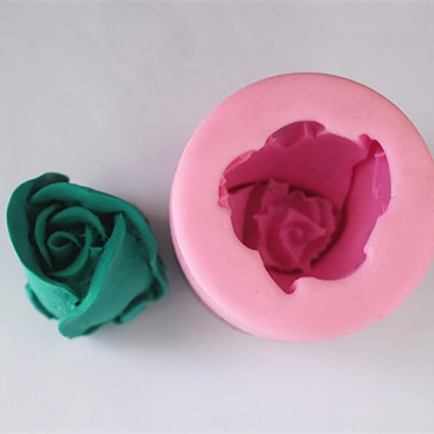 Moldes de silicona con flores rosas en 3D, moldes para Fondant, moldes para Fondant, moldes para pasteles, herramientas para decoración de arcilla