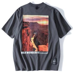 LACIBLE Oversize Tshirt Men Streetwear Hip Hop Harajuku Mountain Sunset Print T-Shirts Cotton Short Sleeve Fashion Casual Tees
