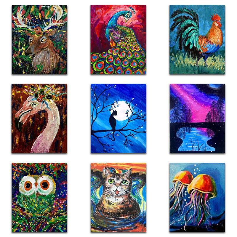Juego de pinturas de diamantes 5d con diseño de gato y Animal, pintura cuadrada completa de diamantes, pintura de perro con diamantes, punto de cruz, pollos de colores