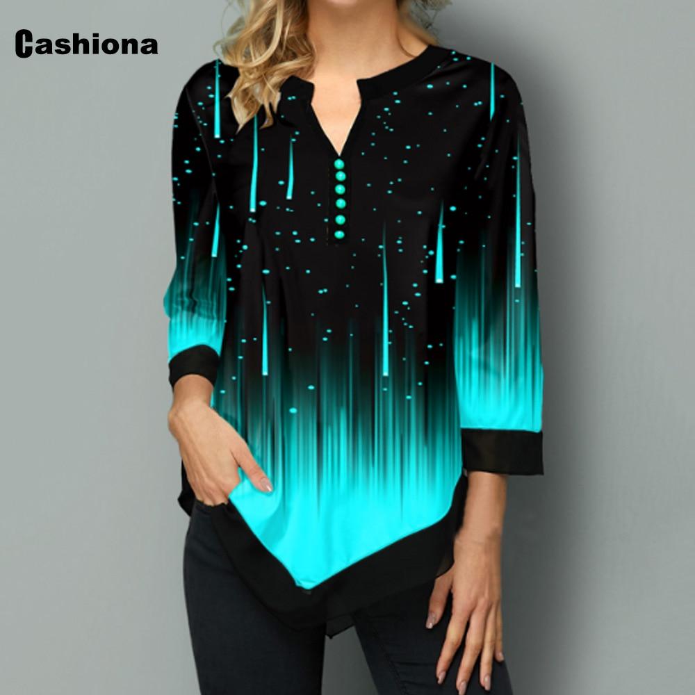 Cashiona panie elegancki rekreacyjne luźna koszulka Gradient druku damska Top 2020 lato nowy nieregularna luźna trójniki shirt Femme