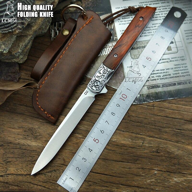 LCM66 cuchillo plegable de apertura rápida, cuchillo de caza hecho a mano, cuchillo de caza 60HRC, mango de sándalo rojo con utensilios para cortar fruta portátiles