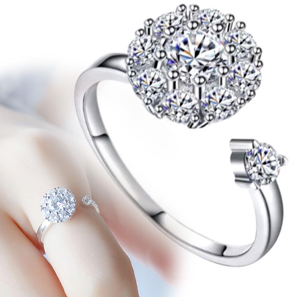 Women Fashion Rhinestone Inlaid Rotating Open Finger Ring Party Jewelry Gift
