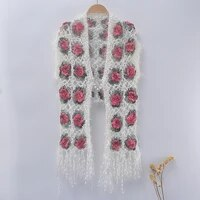 women poncho crochet flower tassel hollow out cape autumn winter out wear sleeveless vest coat scarf for girls 2021