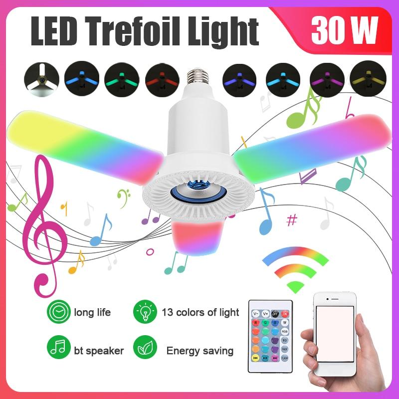 مصباح سقف LED قابل للتشوه مع مكبر صوت بلوتوث وجهاز تحكم عن بعد ، مصباح سقف ، مصباح موسيقى RGB قابل للتعتيم ، E27