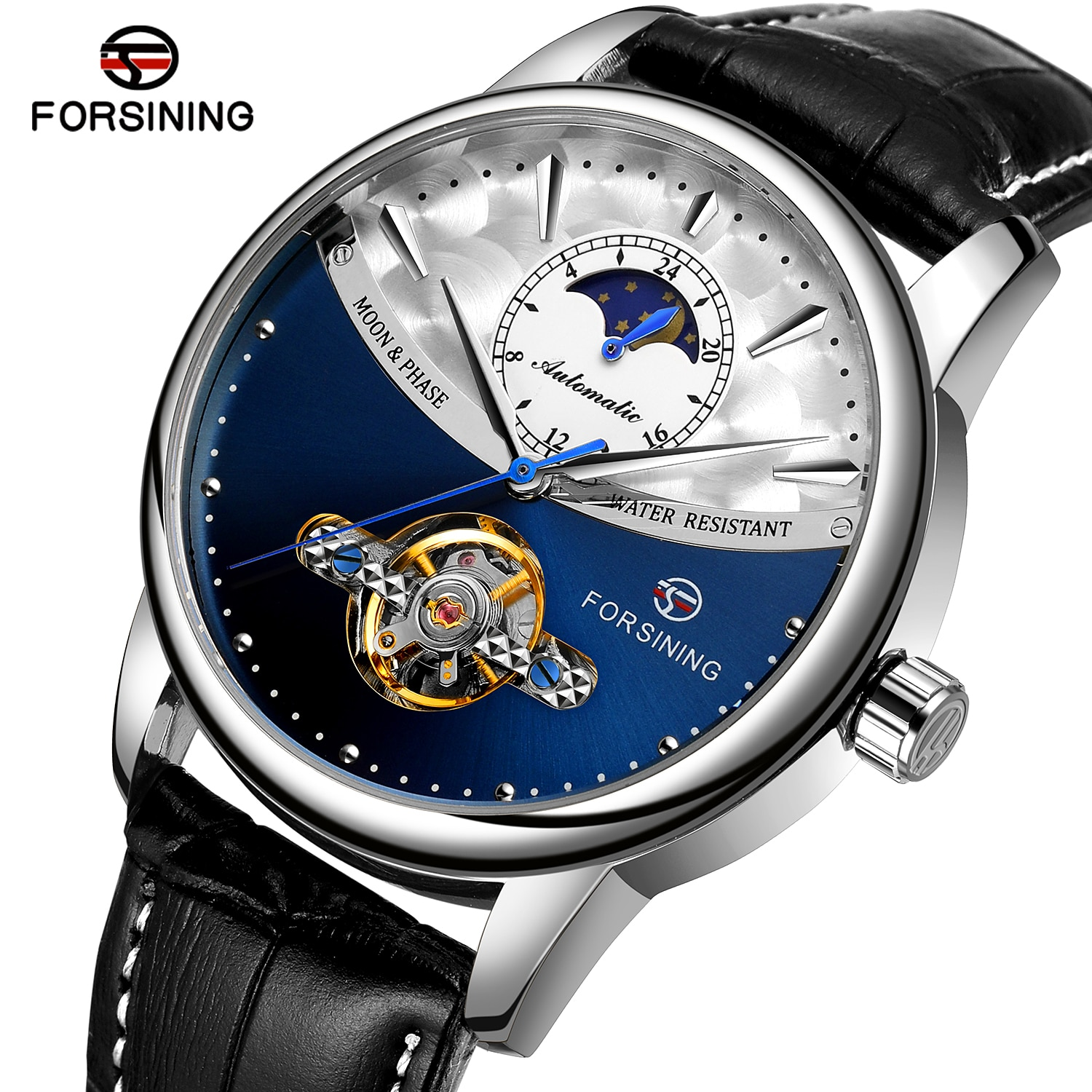 forsining luxury brand men vintage automatic watches male fashion auto date mechanical wristwatches rome dial real leather band Forsining 2021 New Classic Blue Swiss Brands Automatic Husband Tourbillon Genuine Leather Male Watch Luxury Men Mechanical Dial