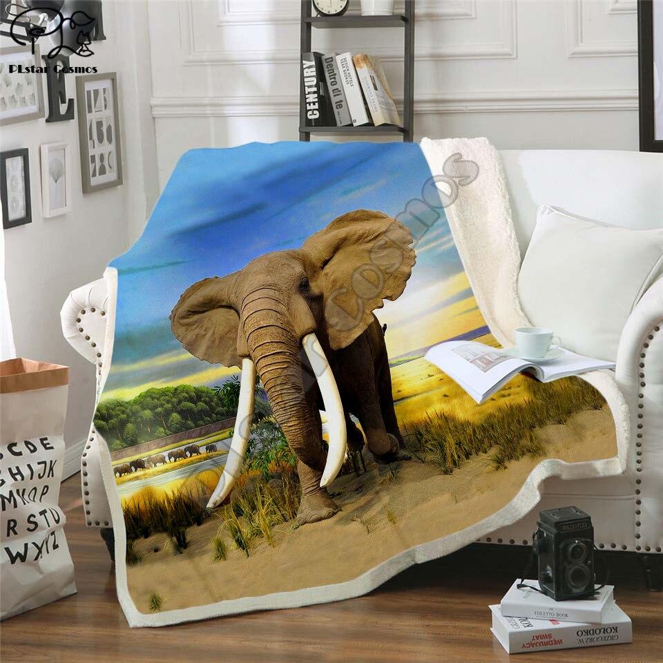 Ropa de cama de moda Outlet 3D elefante manta de felpa de terciopelo sábana cálida de dibujos animados manta para siesta Oficina estilo-001
