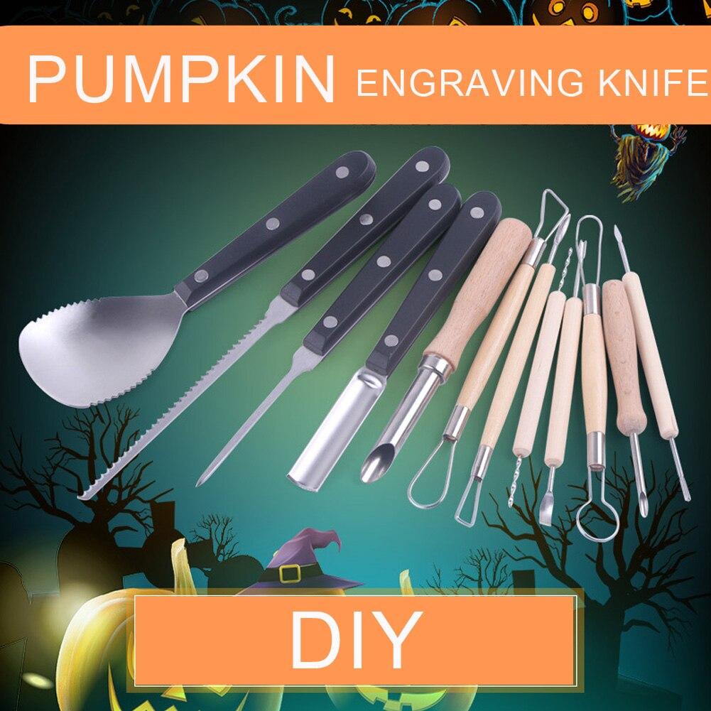 12 Uds. Herramientas para tallar calabaza de Halloween juego de cortadores para tallar calabaza profesional DIY herramientas de corte para decoración de calabaza