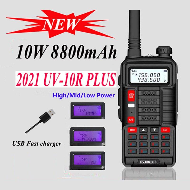 Новое поступление 2021, двухсторонний радиопередатчик Baofeng Uv-10R Plus, Cb радио, автомобильное коммуникационное оборудование, рация дальнего ради...