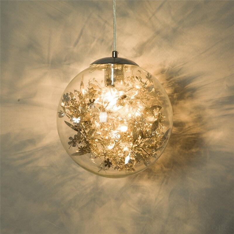 زجاج حديث مصباح قلادة كروية الحديثة المعادن زهرة قلادة ضوء الذهب زهرة ديكو نجف يُعلق بالسقف الصناعية ديكور الإنارة