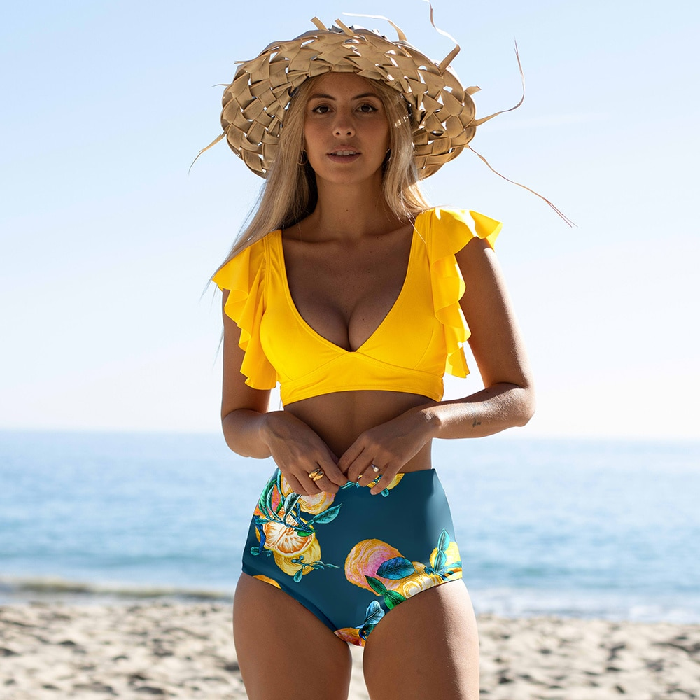 Floral Ruffled Hem Bikini Set Women Flora V-neck High-waisted Two Piece Swimsuit 2021 Girl Beach Bathing Suit Swimwear Biquinis