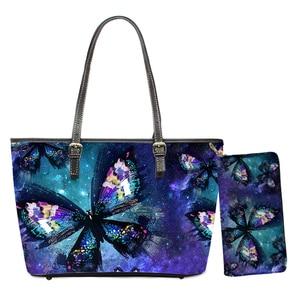 Hot Sale Women PU Handbags Galaxy Butterflies 3D Print 2pcs/set Shoulder Bags for Female Travel Top-handle Bag Bolsa