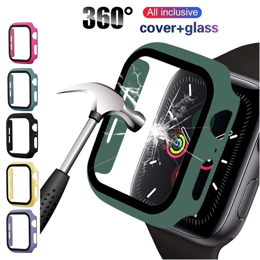 watch cover case for apple watch 6 5 4 3 2 1 se 44mm 42mm 40mm 38mm colorful screen full protector shell for iwatch watch case Tempered Glass+Matte Watch Cover For Apple Watch Case 44mm 40mm 42mm 38mm Bumper+Screen Protector For Iwatch SE 6 5 4 3 2 1 Case