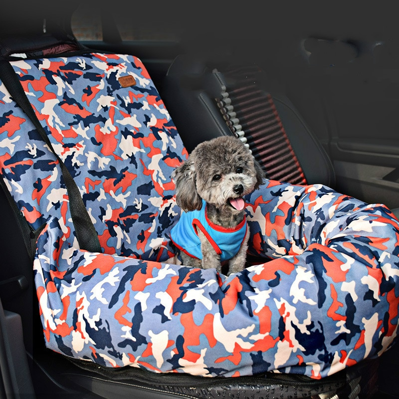 Coche y Bulldog Francés Perrera de viaje coche cojín de peluche caniche pequeño y mediano perro perrera cojín para mascotas