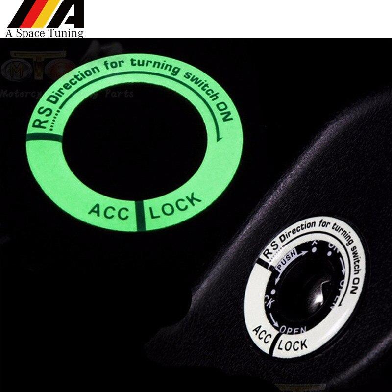 Pegatina de anillo de llave parada de arranque de motor de coche cubierta de ignición luminosa de Gel 3D pegatina de decoración Universal para Auto motocicleta