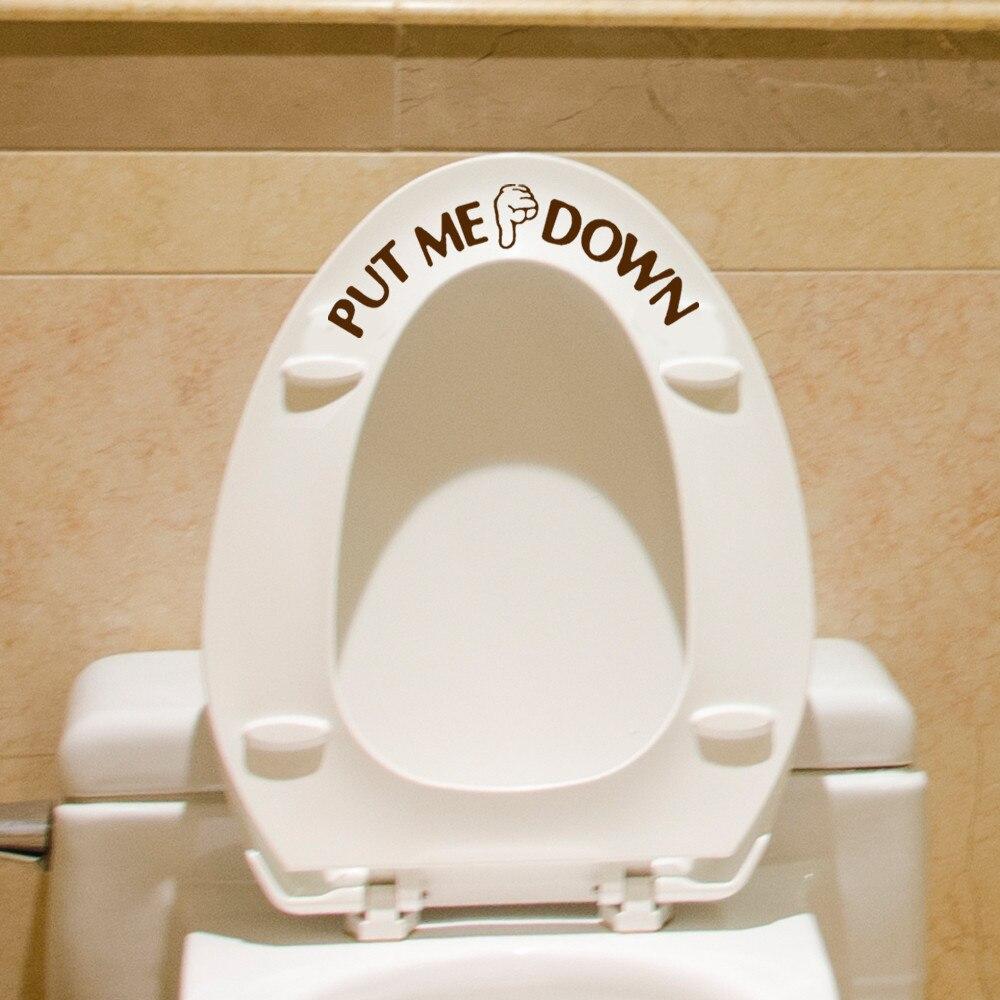 Etiqueta do vaso sanitário gesto mão decalque engraçado banheiro assento vaso sanitário adesivo de parede sinal para me colocar para baixo removível decalques do banheiro decoração