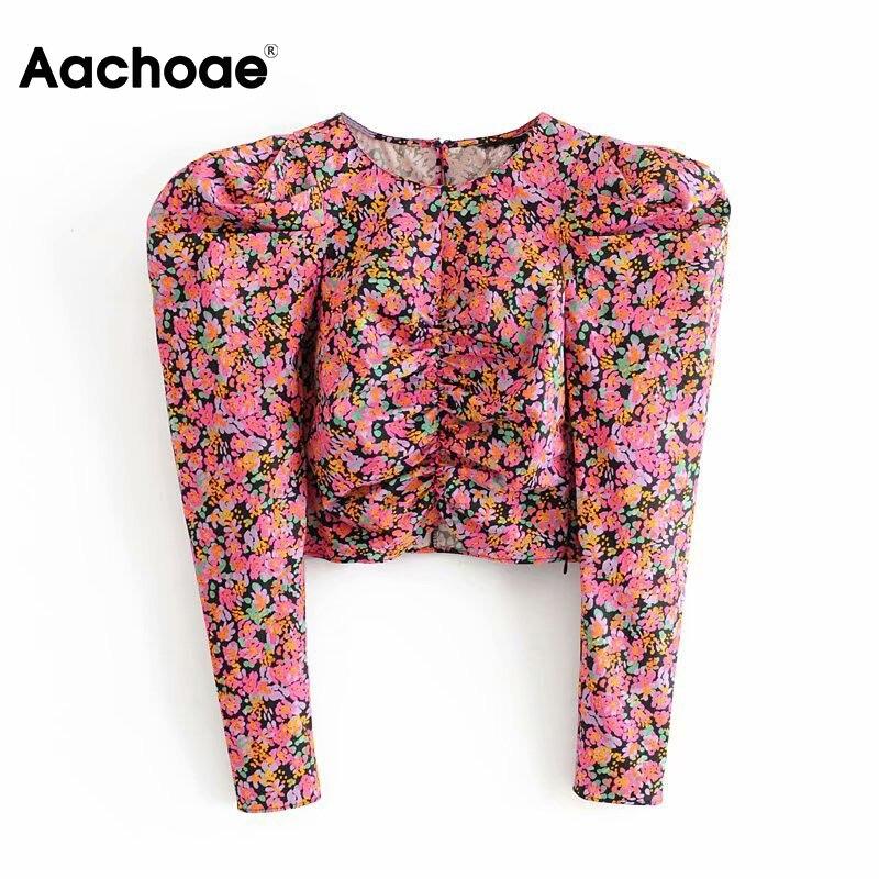 Aachoae mulheres retro rosa impressão colheita blusa vintage streetwear sopro manga longa topos o-pescoço senhoras camisa casual blusas femininas