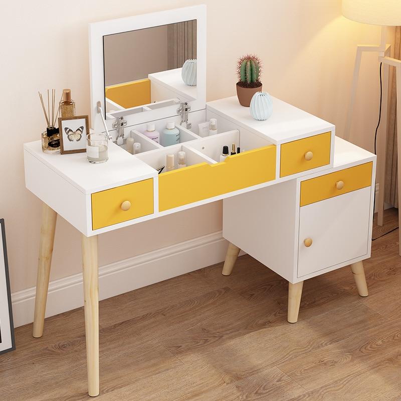 Mesa de maquiagem de armazenamento de jóias grande espelho dobrável compacto multi gavetas suporte da noite moderno penteadeira quarto móveis 90cm