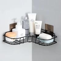 1pc no drill bathroom shampoo punch corner frame shower shelf kitchen seasoning storage wall mounted wrought iron rack