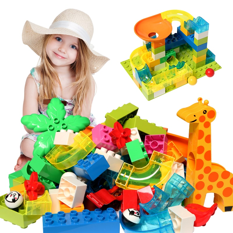 Classic Big Size Building Block DIY Brick Parts Marble Race Run Maze Balls Track Funnel Toys for Chi