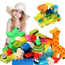 Classic Big Size Building Block DIY Brick Parts Marble Race Run Maze Balls Track Funnel Compatible Duploed Toys for Children Kid