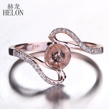 HELON 8.5-10.75mm Round Pearl Solid 10K Rose Gold Natural Diamonds Anniversay Wedding Semi Mount Ring Setting Women Fine Jewelry