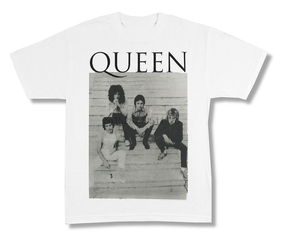 Queen Stairs Band Pic Image camiseta blanca nueva banda Merch Freddie marca ropa camiseta