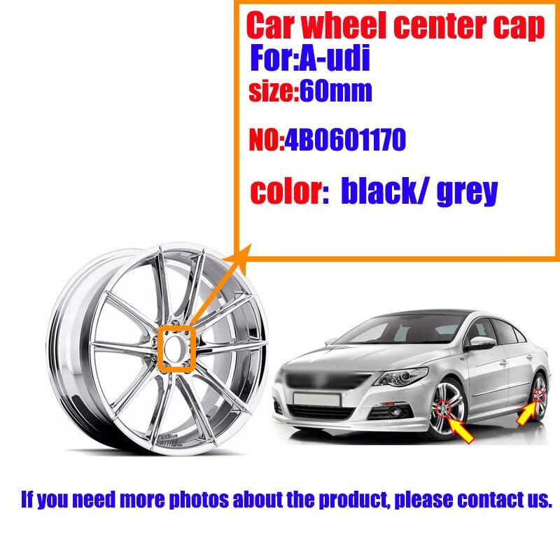 4 шт. 60 мм черный серый центральный колпак на колесо автомобиля Крышка Ступицы s автомобильные диски крышка 4B0601170, 4B0 601 170