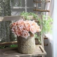 1 Bouquet 9 tetes Artificielle Rose Fleur Mariage Mariee Tenant Bouquet Decor BRICOLAGE Soie Faux Fleurs Decoration De Jardin Maison