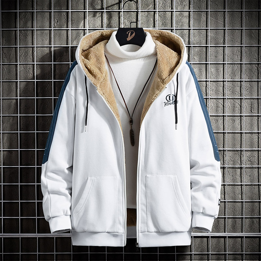 Männer Herbst Winter Hoodie Jacke Pelz Gefüttert Dicke Zipper Hoodie Sweatshirt Casual Sport Mantel Mit Kapuze Koreanische Mode Weiß Hoodie